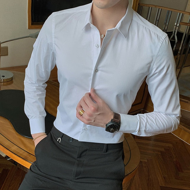 New Fashion Cotton Long Sleeve Shirt Solid Slim Fit Male Social Casual Business White Black Dress Shirt 5XL 6XL 7XL 8XL - onlinedressstore