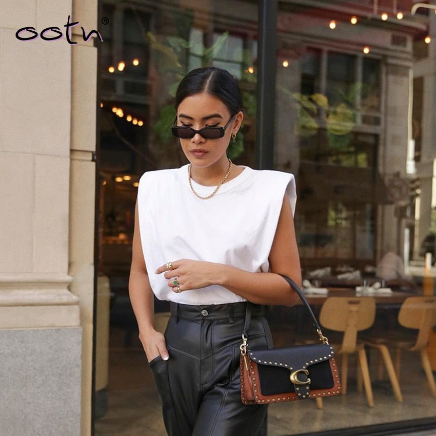 Spring Summer White Loose Sleeveless Top Women O Neck Camis Casual Basic Sport Vest - onlinedressstore