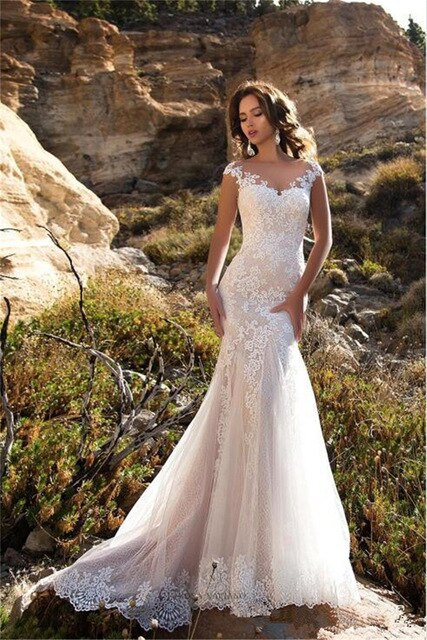 Neck Mermaid Wedding Dresses Slim Appliques Lace Fishtail Bridal Gowns Custom Spring Plus Size Bride's Gown - onlinedressstore