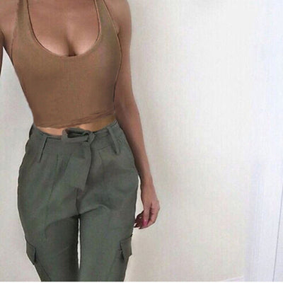 Casual Slim Sleeveless Tank Tops Summer 2019 Solid Crop Top For Ladies Fitness Vest Women - onlinedressstore