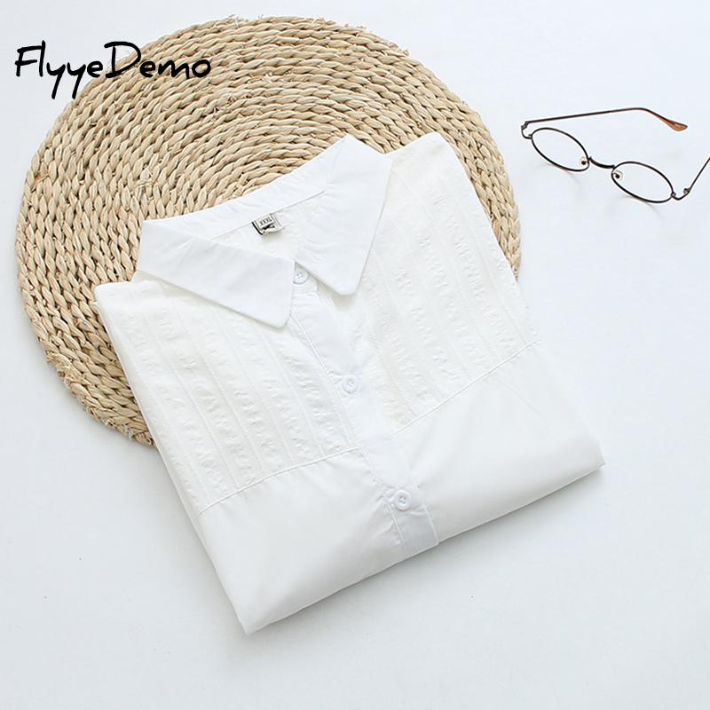 White Spring England Preppy Oversize Cotton Boyfriend Shirt Women Blusas Tops And Blouse Plus Size - onlinedressstore