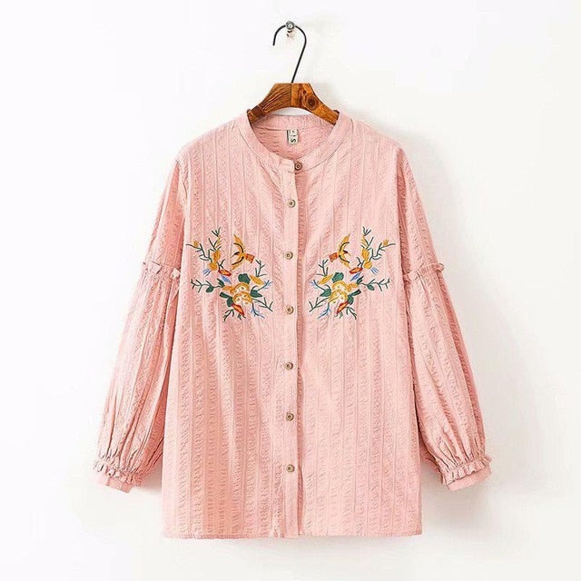 High Quality Blouse Women Plus Size Ruffle Cotton Ladies Floral Bird Embroidered Top Blouse 2020 Summer Shirt Puff Sleeve Casual - onlinedressstore
