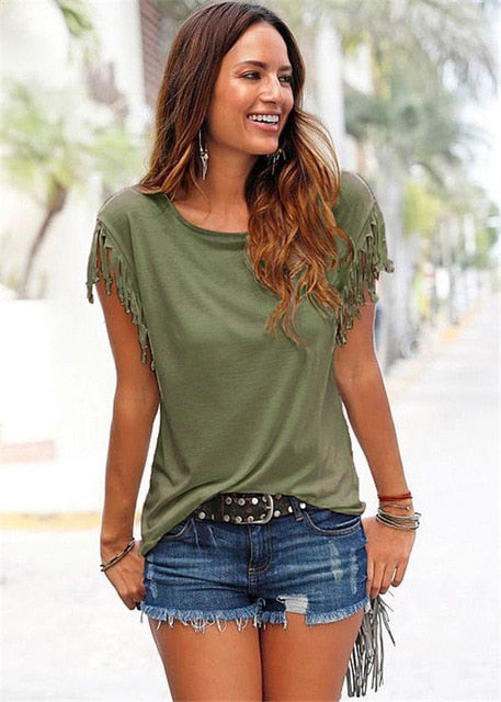 Women Cotton Tassel Casual T-shirt Sleeveless Solid Color Tees Short Sleeve O-neck Women's Clothing - onlinedressstore