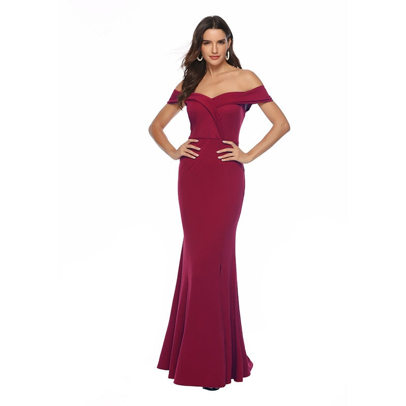 Burgundy Dresses Long Summer Sexy Party Evening Elegant Dress Off The Shoulder Sexy Split Maxi V Neck Floor Dress Women Vestidos - onlinedressstore