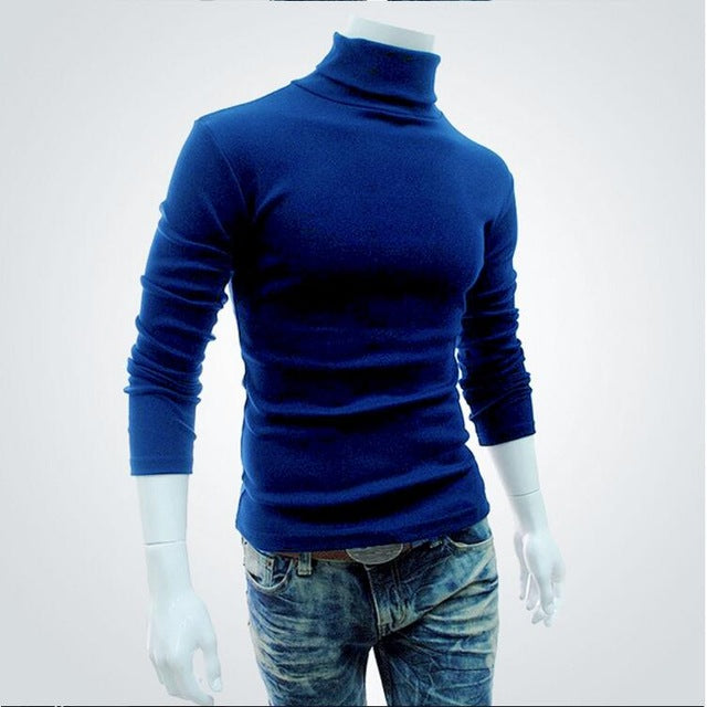 New Autumn Winter Men'S Sweater Men'S Turtleneck Solid Color Casual Sweater Men's Slim Fit Brand Knitted Pullovers - onlinedressstore