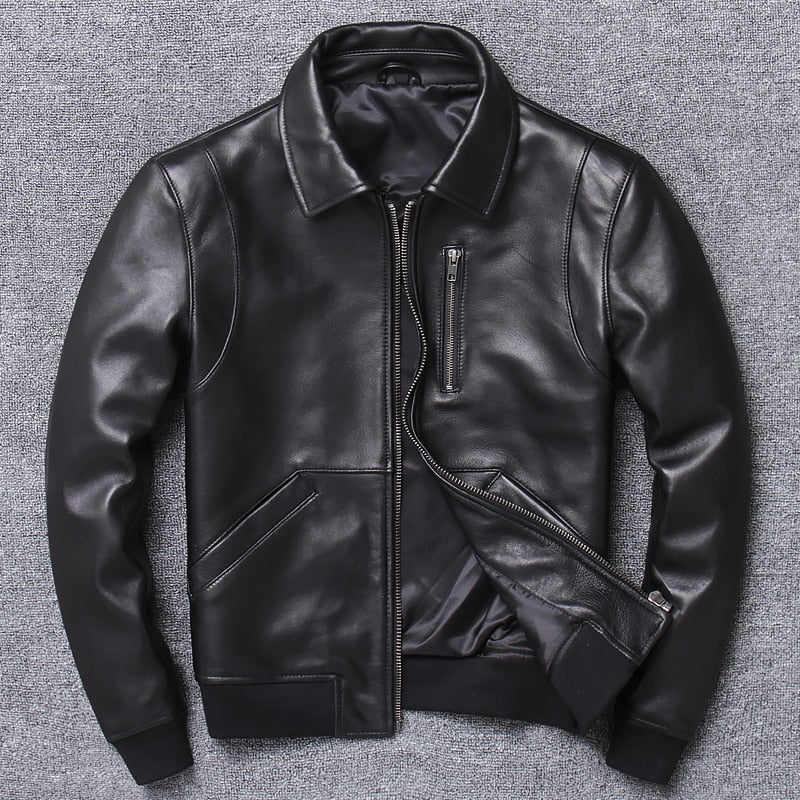 Casual Man Genuine Coat Mens Sheepskin Jacket Busines Leather Jackets Fashion Style Plus Size Sales - onlinedressstore