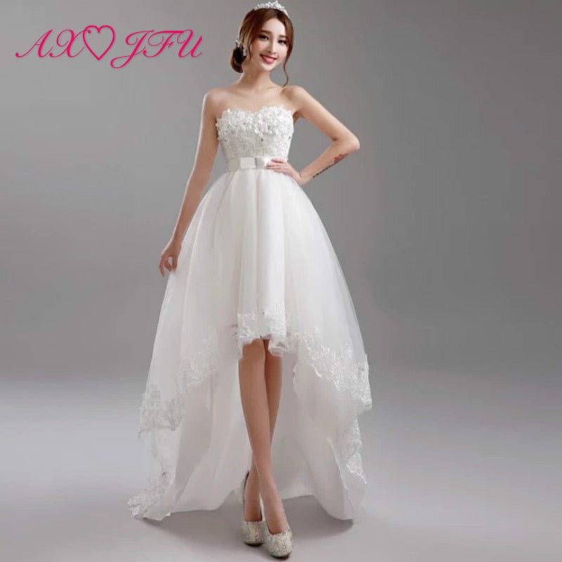 Luxury princess white flower wedding dress beading pearls bow high/low wedding dress vintage white - onlinedressstore