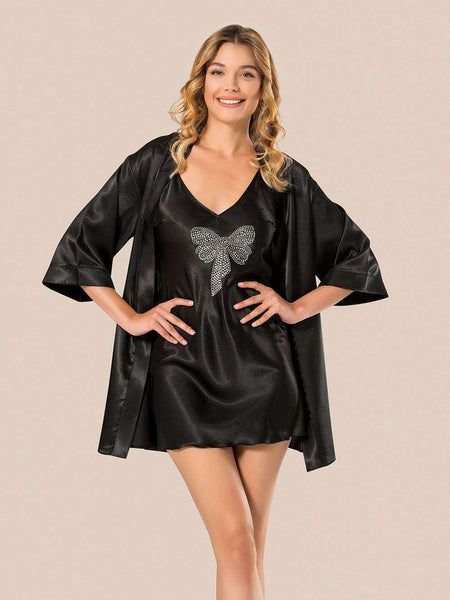 Flourish Night Wear-Short Gown Set-Mg-065-Gown-Set - LadiesInn.pk