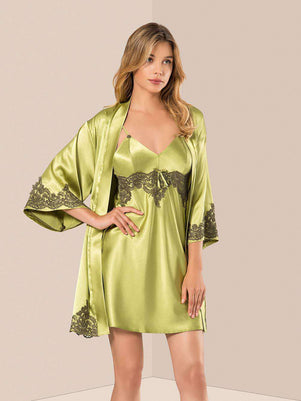 Flourish Night Wear-Short Gown Set-Copy-Of-Mg-061-Gown-Set - LadiesInn.pk