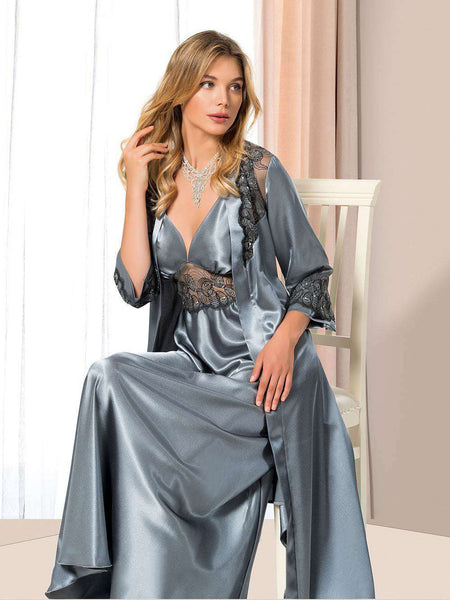 Flourish Night Wear-Long Gown Set-Mg-080-Gown-Set - LadiesInn.pk