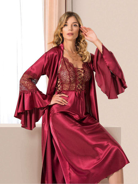 Flourish Night Wear-Long Gown Set-Mg-1124-Gown-Set - LadiesInn.pk