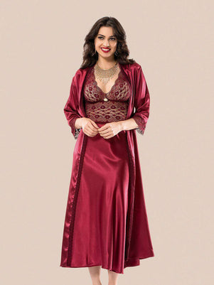 Flourish Night Wear-Long Gown Set-Mg-089-Gown-Set - LadiesInn.pk