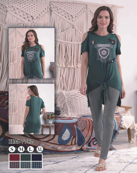 Flourish Night Wear-T Shirt Style Pjs-Hm-7752 - LadiesInn.pk