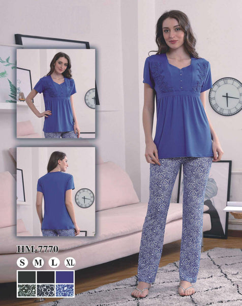 Flourish Night Wear-T Shirt Style Pjs-Hm-7777 - LadiesInn.pk
