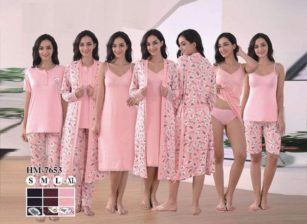 Flourish Night Wear-Nightwear Gift Set-Hm-7727 - LadiesInn.pk