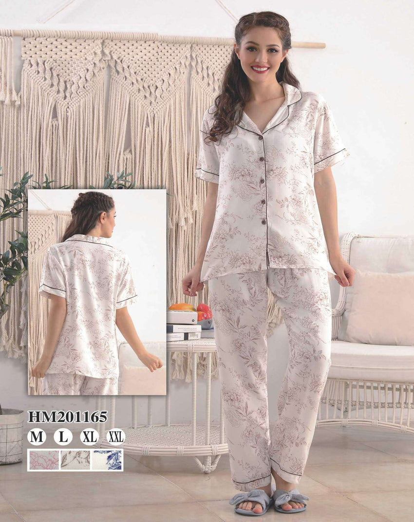 Flourish Night Wear-T Shirt Style Pjs-Hm-201165 - LadiesInn.pk