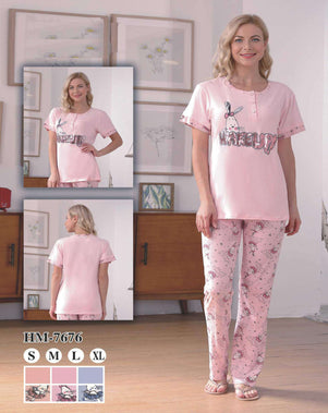 Flourish Night Wear-T Shirt Style Pjs-Hm-7676 - LadiesInn.pk