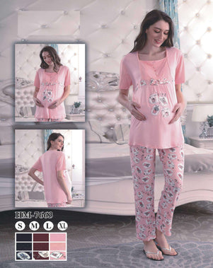 Flourish Night Wear-T Shirt Style Pjs-Hm-7663 - LadiesInn.pk