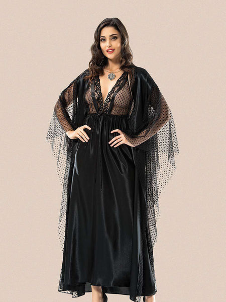 Flourish Night Wear-Long Gown Set-Mg-2094-Gown-Set - LadiesInn.pk