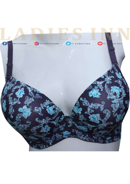 Padded Non-wired Flower Printed Bra - LadiesInn.pk