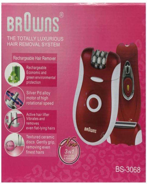 Browns Hair Removal Women 3 In 1 Rechargeable Electric Epilator Shaver Hair Remover Machine - LadiesInn.pk