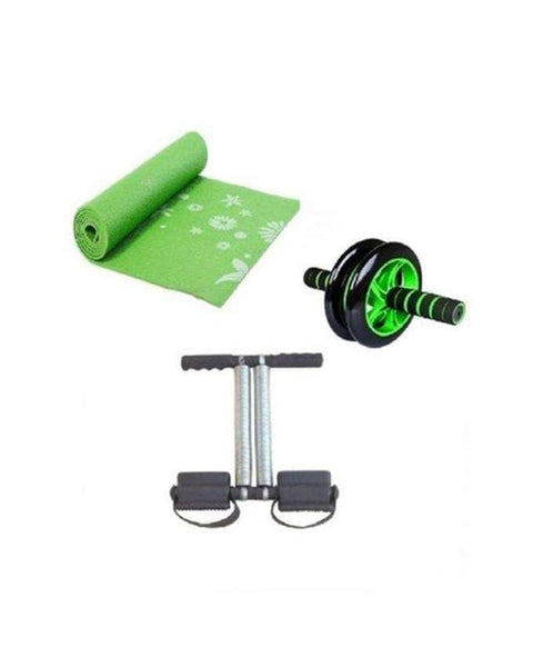 Bundle of 3 - Yoga Mat 6mm, Tummy Trimmer & Dual Abdominal Roller Wheel - Small - LadiesInn.pk
