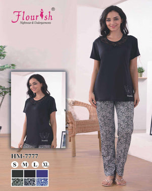 Flourish Night Wear-T Shirt Style Pjs-Hm-7770 - LadiesInn.pk
