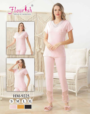 Flourish Night Wear-T Shirt Style Pjs-Hm-9225 - LadiesInn.pk