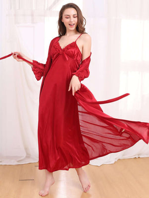 Flourish Night Wear-Long Gown Set-Fl-0107-Gown-Set - LadiesInn.pk