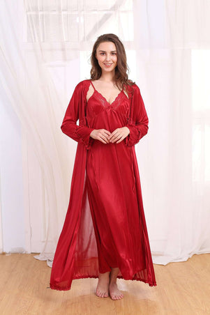 Flourish Night Wear-Long Gown Set-Fl-0109-Gown-Set - LadiesInn.pk