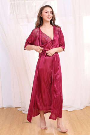 Flourish Night Wear-Long Gown Set-Fl-480-Gown-Set - LadiesInn.pk
