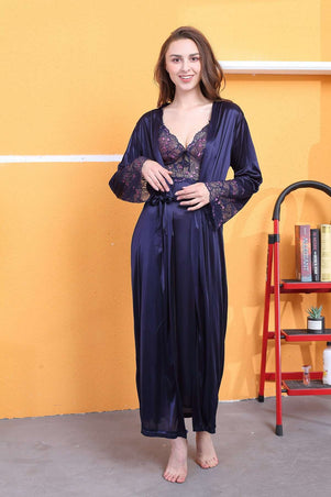 Flourish Night Wear-Long Gown Set-Fl-633-Gown-Set - LadiesInn.pk