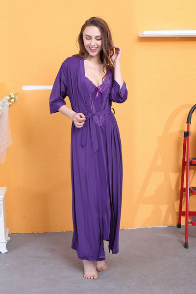 Flourish Night Wear-Long Gown Set-Fl-720-Gown-Set - LadiesInn.pk