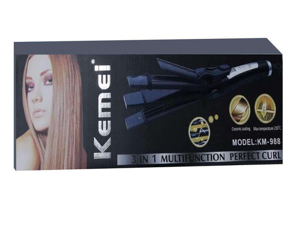 Kemei Flat Irons Km-987 3 In 1 Digital Temperature Control Hair Styling Straightener & Curler - LadiesInn.pk