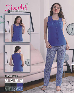 Flourish Night Wear-Front Open Pj Set-Hm-7775 - LadiesInn.pk