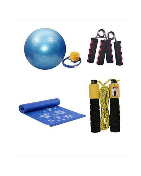 Bundle Pack - Yoga Mat 10mm + Gym Ball 75 cm + Jump Rope + Hand Grip - Free - MS0001SPO1487 - LadiesInn.pk