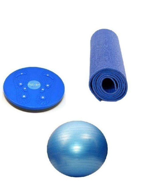 Bundle - Gym Ball, Yoga Mat & Waist Twisting Disc - Blue - LadiesInn.pk