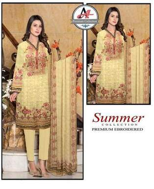 3 Piece Digital Chikan Kari Suit With Bamber Dupatta, Simple Trouser-22