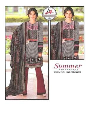 3 Piece Digital Printed Lawn Suit With Chiffon Dupatta,Simple Trouser-14