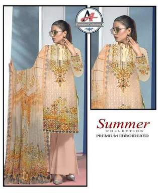 3 Piece Digital Chikan Kari Suit With Bamber Dupatta, Simple Trouser- 30