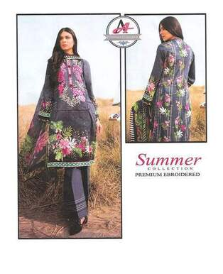 3 Piece Masoori Lawn Suit With Lawn Chifoon Dupatta, Simple Trouser-28