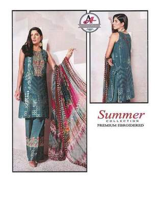 3 Piece Digital Printed Lawn Suit With Chiffon Dupatta, Printed Trouser-23