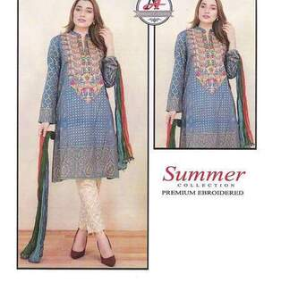 3 Piece Digital Printed Lawn Suit With Chiffon Dupatta,Simple Trouser-13
