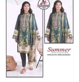3 Piece Digital Printed Lawn Suit With Chiffon Dupatta,Simple Trouser-16