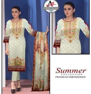 3 Piece Digital Chikan kari Suit With Bamber Duppata, Simple Trouser-8