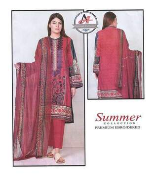 3 Piece Digital Printed Lawn Suit With Lawn Dupatta, Simple Trouser-25
