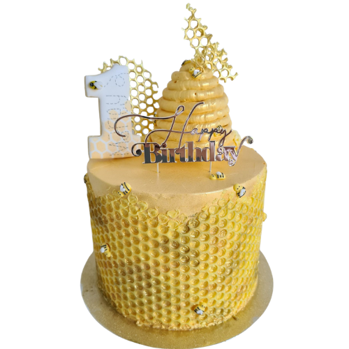 birthday cake, easy cake kits perth, bee-hive cake, bee theme, cake topper, chocolate honeycomb, first birthday, yellow honey buttercream, sponge cake
