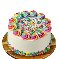 Birthday cake, easy cake kits Perth, Rainbow Sprinkle Mix, Rainbow Rosettes, Rainbow Buttercream, White buttercream cake