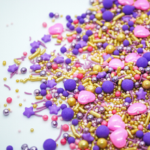 Load image into Gallery viewer, Princess Sprinkle Mix, easy cake kits perth pink purple and gold sprinkle mix