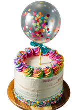 Load image into Gallery viewer, Confetti balloon birthday cake, rainbow rosettes, easy cake kits perth,  white vanilla buttercream, rainbow confetti sprinkles, rainbow sponge cake layers